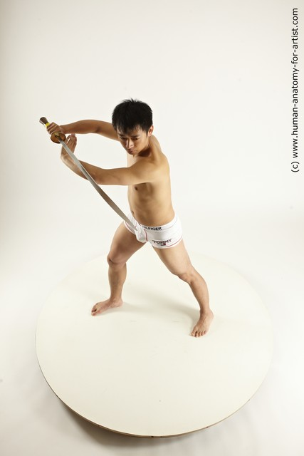 Underwear Fighting with sword Man Asian Standing poses - ALL Slim Short Black Standing poses - simple Multi angles poses