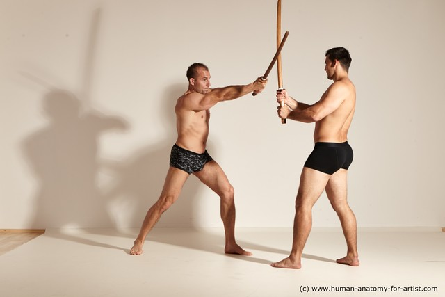 Underwear Fighting with spear Man - Man White Moving poses Muscular Short Brown Dynamic poses