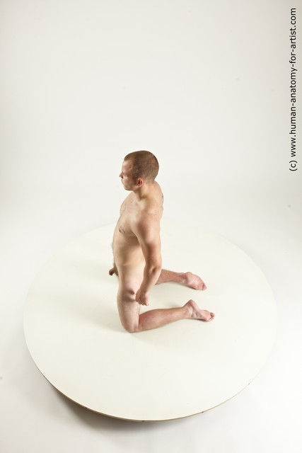Nude Man White Kneeling poses - ALL Slim Short Brown Kneeling poses - on both knees Multi angles poses
