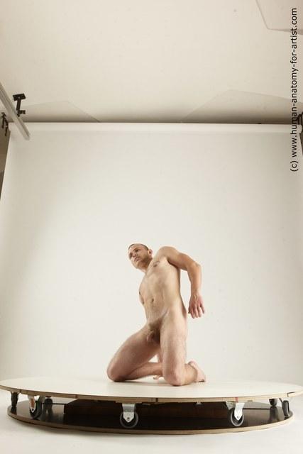 Nude Man White Kneeling poses - ALL Slim Short Brown Kneeling poses - on both knees Multi angles poses