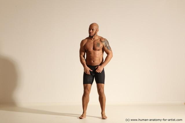 Nude Man Black Muscular Bald Dancing Dynamic poses