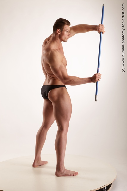 Underwear Man White Muscular Short Brown Standard Photoshoot