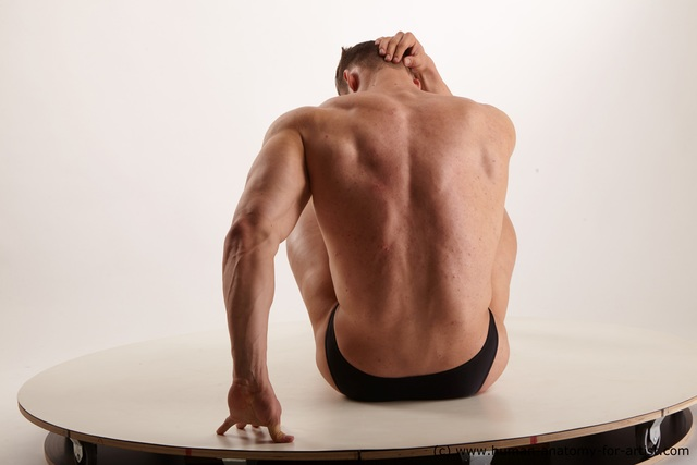 Underwear Man White Muscular Short Brown Standard Photoshoot