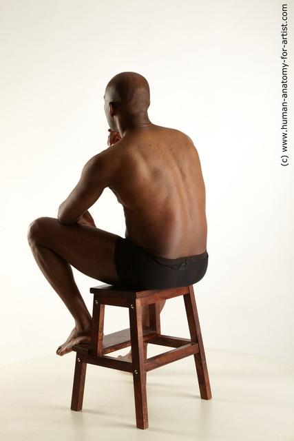 Underwear Man Black Sitting poses - simple Average Bald Sitting poses - ALL Standard Photoshoot