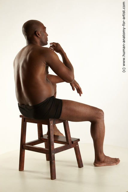 Underwear Man Black Sitting poses - simple Average Bald Sitting poses - ALL Standard Photoshoot