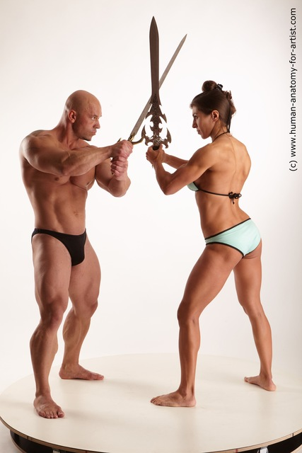 Swimsuit Fighting with sword Woman - Man White Standing poses - ALL Muscular Standing poses - simple Standard Photoshoot