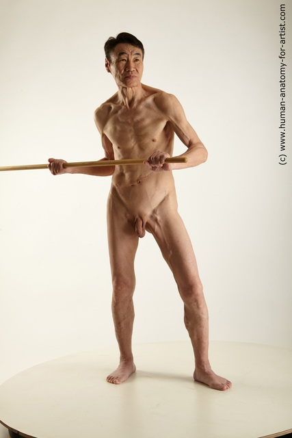 Nude Fighting with spear Man Asian Standing poses - ALL Underweight Short Black Standing poses - simple Standard Photoshoot