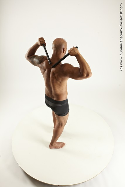 Underwear Fighting Man Black Sitting poses - simple Muscular Bald Sitting poses - ALL Multi angles poses