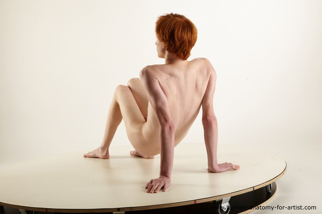 Nude Man White Sitting poses - simple Underweight Medium Red Sitting poses - ALL Standard Photoshoot