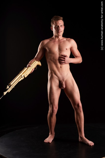 Nude Fighting with gun Man White Sitting poses - simple Slim Short Brown Sitting poses - ALL Standard Photoshoot