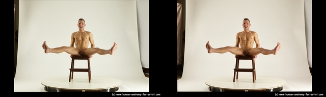 Nude Man White Sitting poses - simple Athletic Short Brown Sitting poses - ALL 3D Stereoscopic poses