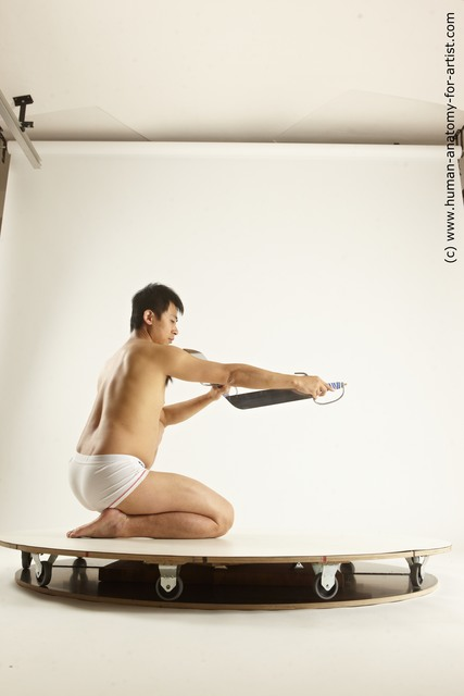 Underwear Fighting with sword Man Asian Slim Short Black Multi angles poses