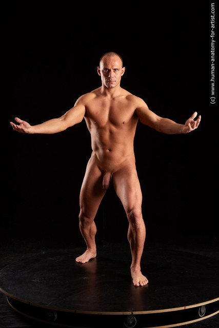 Nude Man - Man White Standing poses - ALL Muscular Short Brown Standing poses - simple Standard Photoshoot