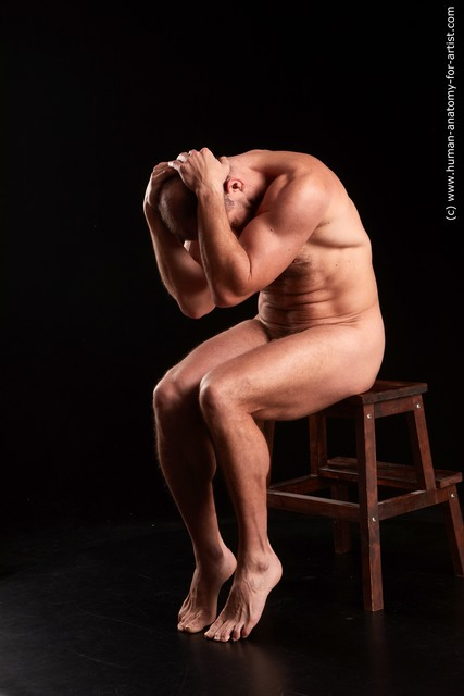 Nude Man White Sitting poses - simple Muscular Bald Sitting poses - ALL Standard Photoshoot
