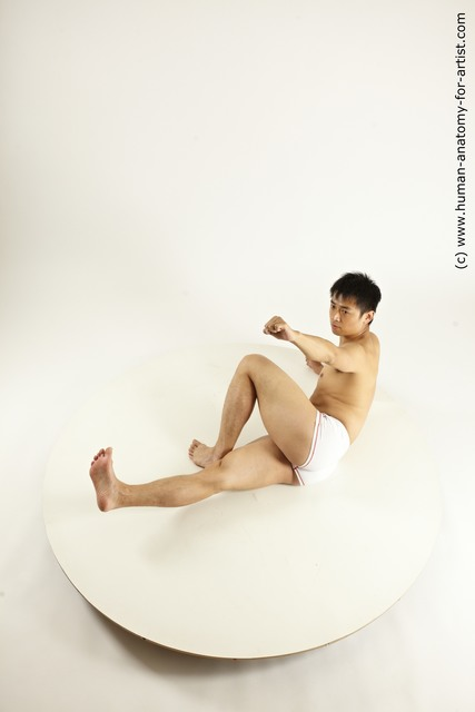 Underwear Man Asian Laying poses - ALL Athletic Short Laying poses - on back Black Multi angles poses