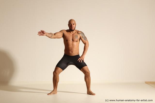 Underwear Man Black Muscular Bald Dancing Dynamic poses
