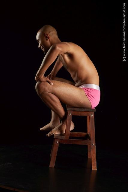 Underwear Man Black Slim Short Brown Standard Photoshoot
