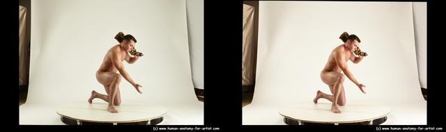 Nude Man White Kneeling poses - ALL Muscular Short Kneeling poses - on one knee Black 3D Stereoscopic poses