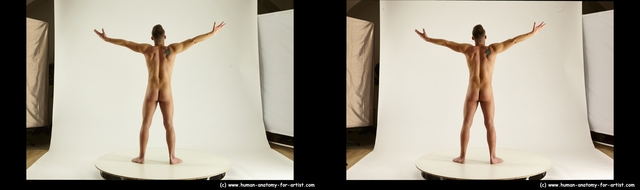 Man White Standing poses - ALL Slim Short Brown Standing poses - simple 3D Stereoscopic poses