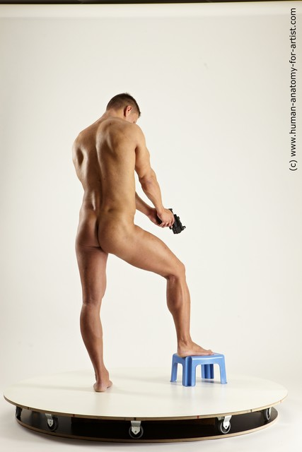 Nude Fighting with gun Man White Muscular Short Brown Multi angles poses