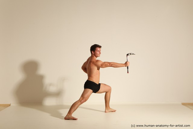 Underwear Fighting Man White Moving poses Athletic Short Brown Dynamic poses