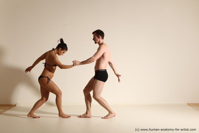 Underwear Woman - Man White Slim Brown Dancing Dynamic poses