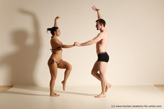 Underwear Woman - Man White Slim Brown Dancing Dynamic poses