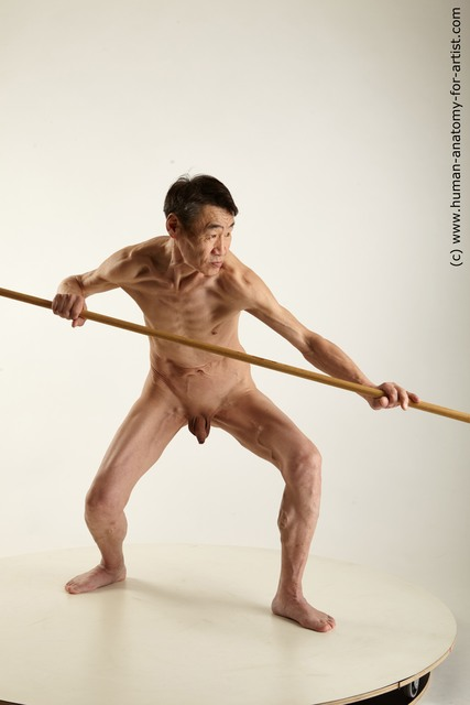 Nude Fighting with spear Man Asian Standing poses - ALL Slim Short Black Standing poses - simple Standard Photoshoot