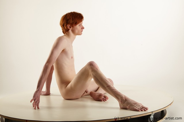 Nude Man White Sitting poses - simple Slim Medium Red Sitting poses - ALL Standard Photoshoot