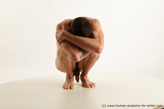 Nude Man Kneeling poses - ALL Slim Short Kneeling poses - on one knee Black Standard Photoshoot