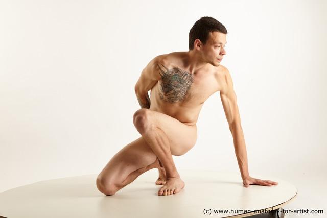 Nude Man Kneeling poses - ALL Slim Short Kneeling poses - on one knee Black Standard Photoshoot