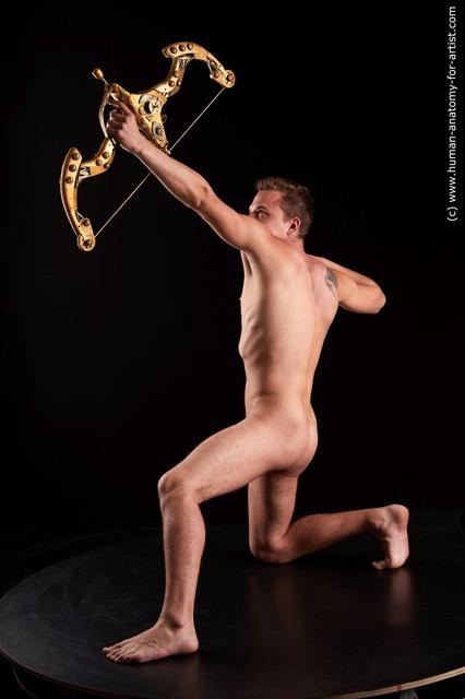 Nude Fighting Man White Slim Short Brown Standard Photoshoot