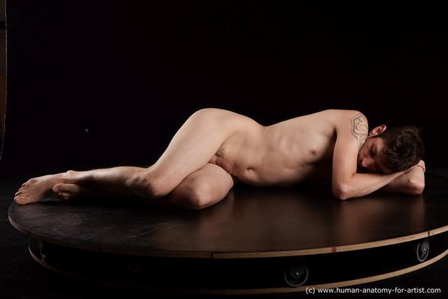 Nude Man White Slim Short Brown Standard Photoshoot