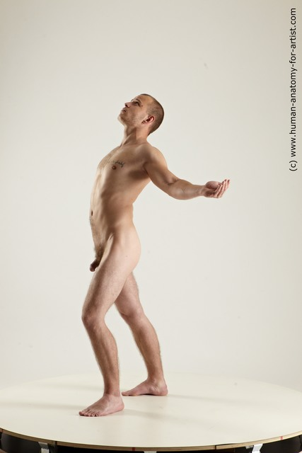 Nude Man White Standing poses - ALL Slim Short Brown Standing poses - simple Multi angles poses