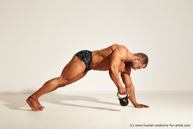 Swimsuit Man White Moving poses Muscular Short Brown Dynamic poses