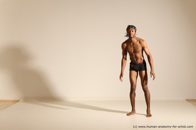 Underwear Man Black Athletic Black Dancing Dreadlocks Dynamic poses