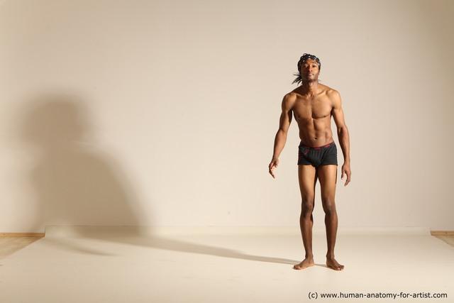 Underwear Man Black Athletic Black Dancing Dreadlocks Dynamic poses