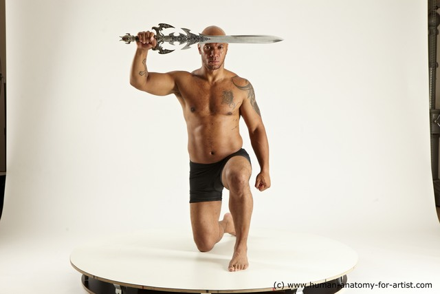 Underwear Fighting with sword Man Black Muscular Bald Multi angles poses