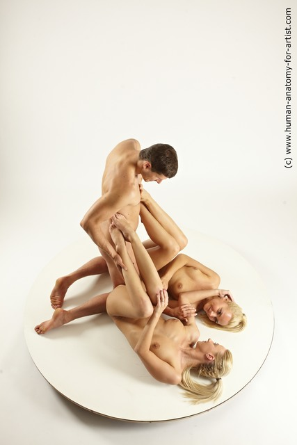 Nude Woman - Man White Slim Multi angles poses
