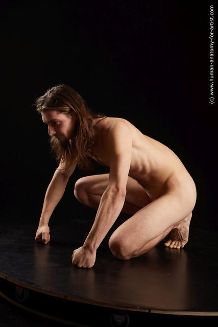Nude Man White Slim Medium Brown Standard Photoshoot