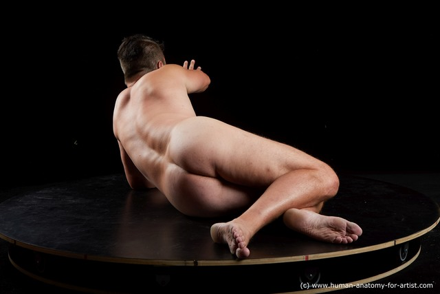 Nude Man White Laying poses - ALL Chubby Short Brown Laying poses - on side Standard Photoshoot