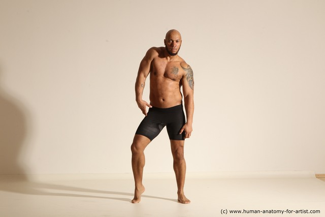 Underwear Man Black Muscular Bald Dancing Dynamic poses
