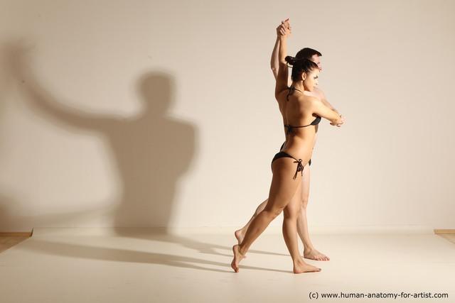 Swimsuit Man White Slim Brown Dancing Dynamic poses
