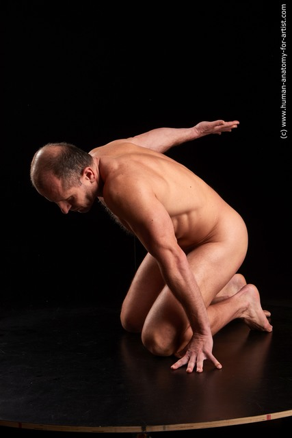 Nude Man White Kneeling poses - ALL Muscular Bald Brown Kneeling poses - on both knees Standard Photoshoot