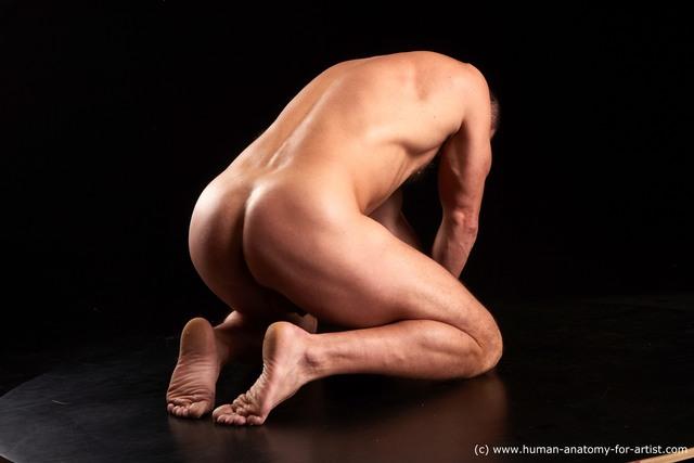 Nude Man White Kneeling poses - ALL Muscular Bald Brown Kneeling poses - on both knees Standard Photoshoot
