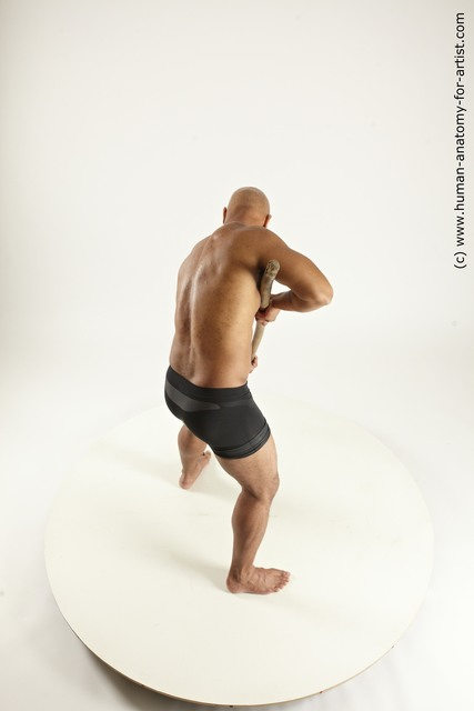Underwear Fighting with spear Man Black Standing poses - ALL Muscular Bald Standing poses - simple Multi angles poses