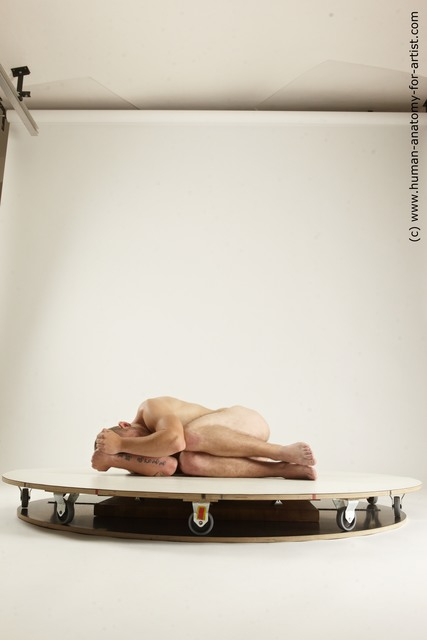 Nude Man White Laying poses - ALL Slim Short Brown Laying poses - on side Multi angles poses