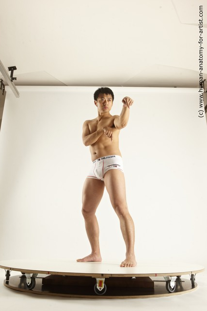 Underwear Fighting Man Asian Standing poses - ALL Slim Short Black Standing poses - simple Multi angles poses