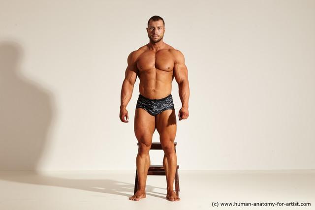 Swimsuit Man White Muscular Short Brown Dynamic poses