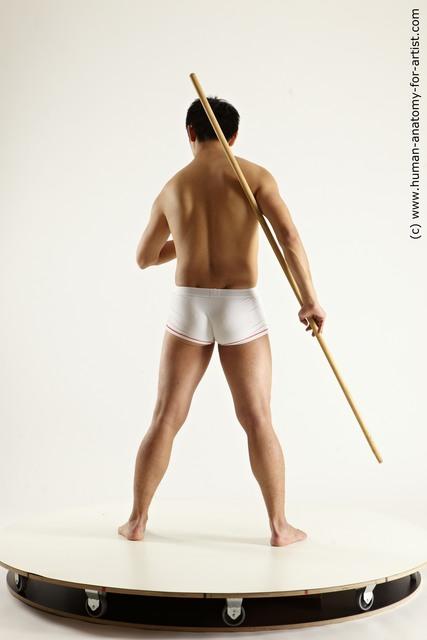 Underwear Man White Athletic Medium Black Dynamic poses